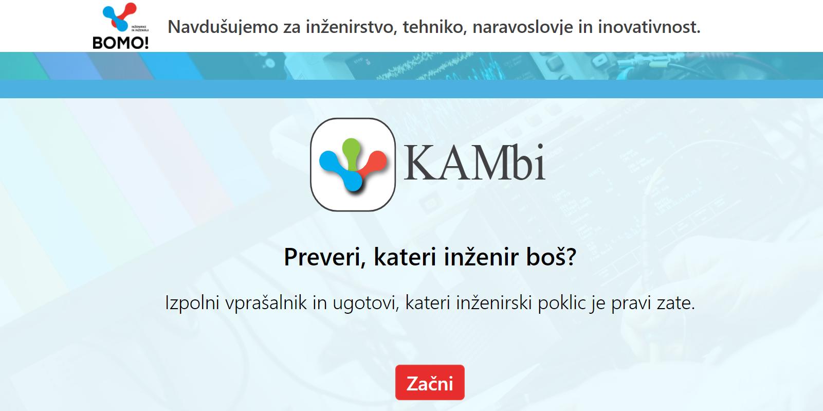 Vstopna stran aplikacije KAMbi